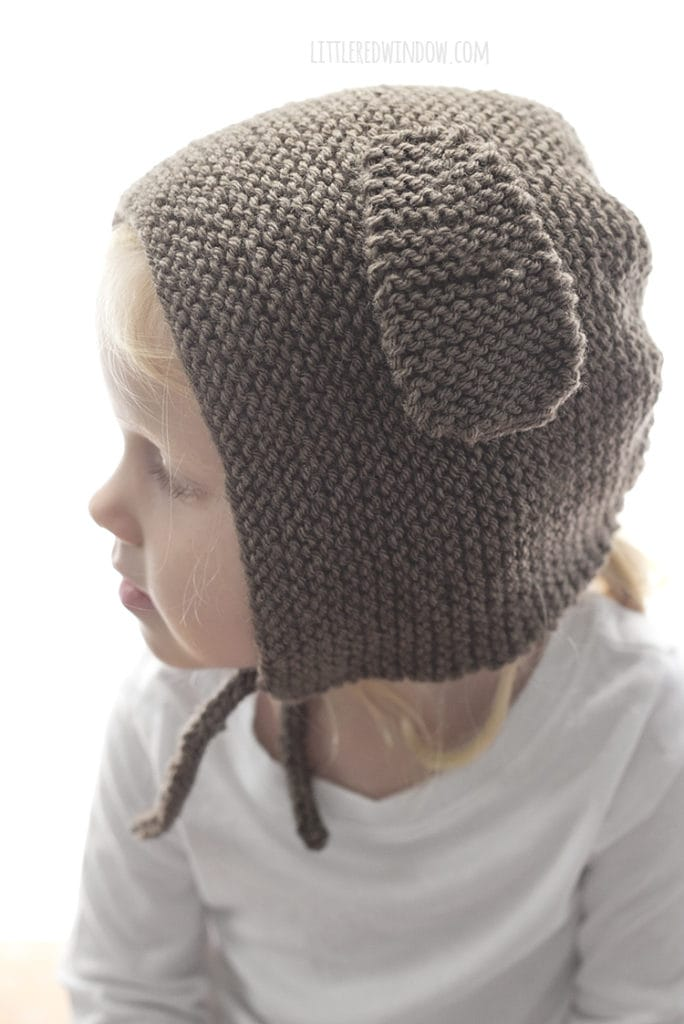 The puppy dog bonnet knitting pattern has instructions for adding function chin ties to keep the bonnet on your little one!