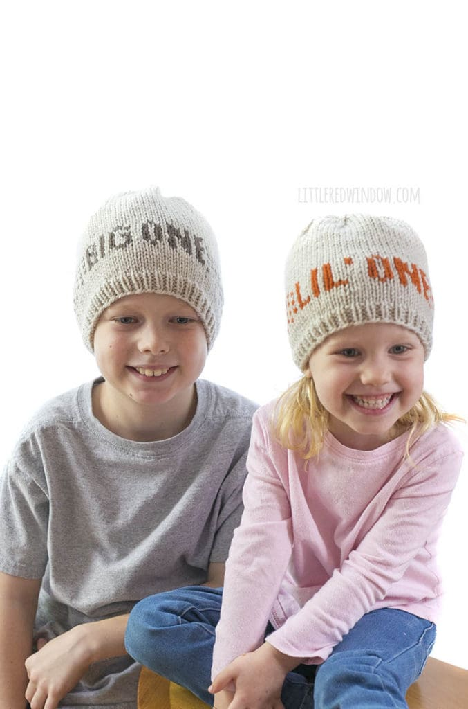 Little One & Big One hats are easy and fun to knit with the Sibling Hats knitting pattern!