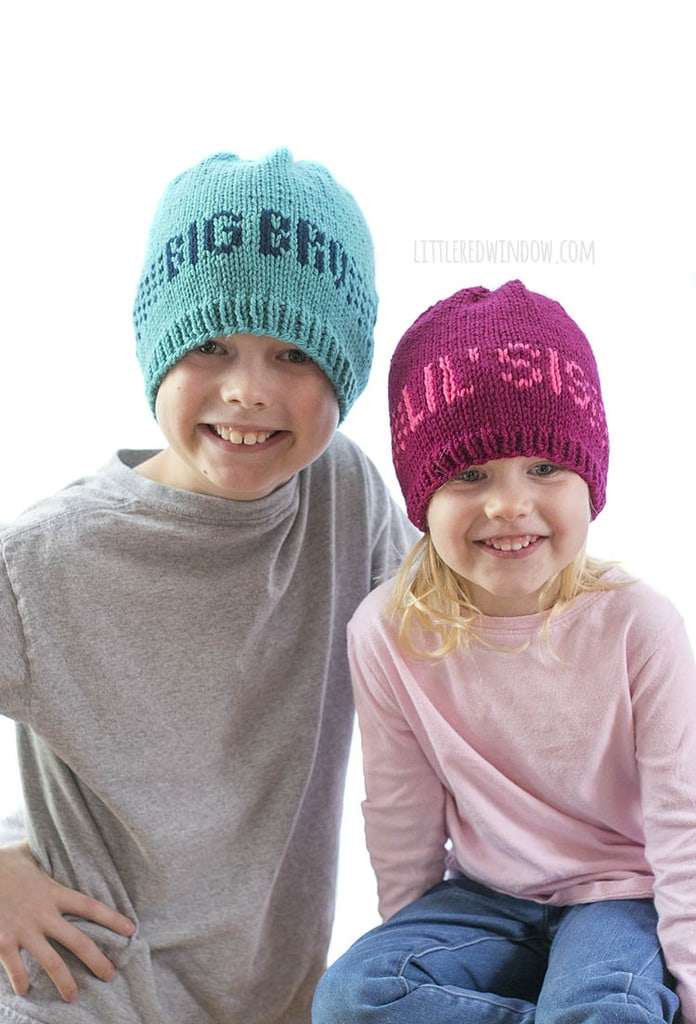 Big Bro & Lil' Sis hats are easy and fun to knit with the Sibling Hats knitting pattern!