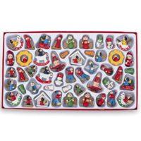 BestPysanky Set of 48 Santa Claus, Snowman, Angels Miniature Wooden Christmas Ornaments