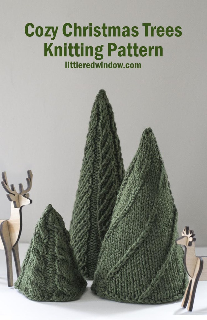 Knit three adorable Christmas trees for the holiday season with the EASY Cozy Christmas Tree Knitting Patterns!