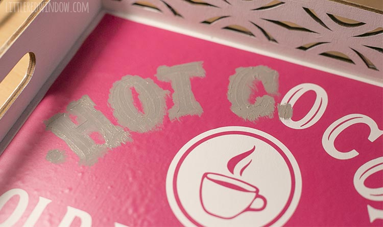 Paint over the Hot Cocoa tray stencil with gentle dabbing motion and peel off the stencil before the paint dries!
