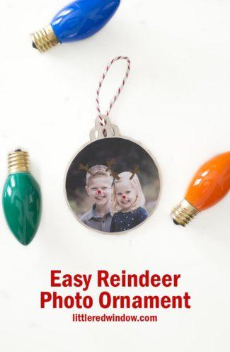 Easy Reindeer Photo Ornaments