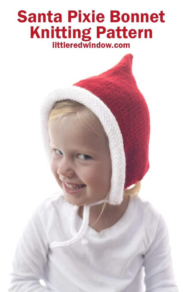 Knit a Santa Pixie Bonnet for Santa's little helper, this cute baby bonnet knitting pattern is perfect for babies and toddlers!
