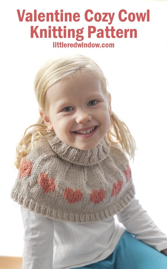 The Valentine Cozy Cowl knitting pattern has an adorable fair isle heart pattern, a soft & warm ribbed fold over neck and can be knit in sizes from preschool to child's large!