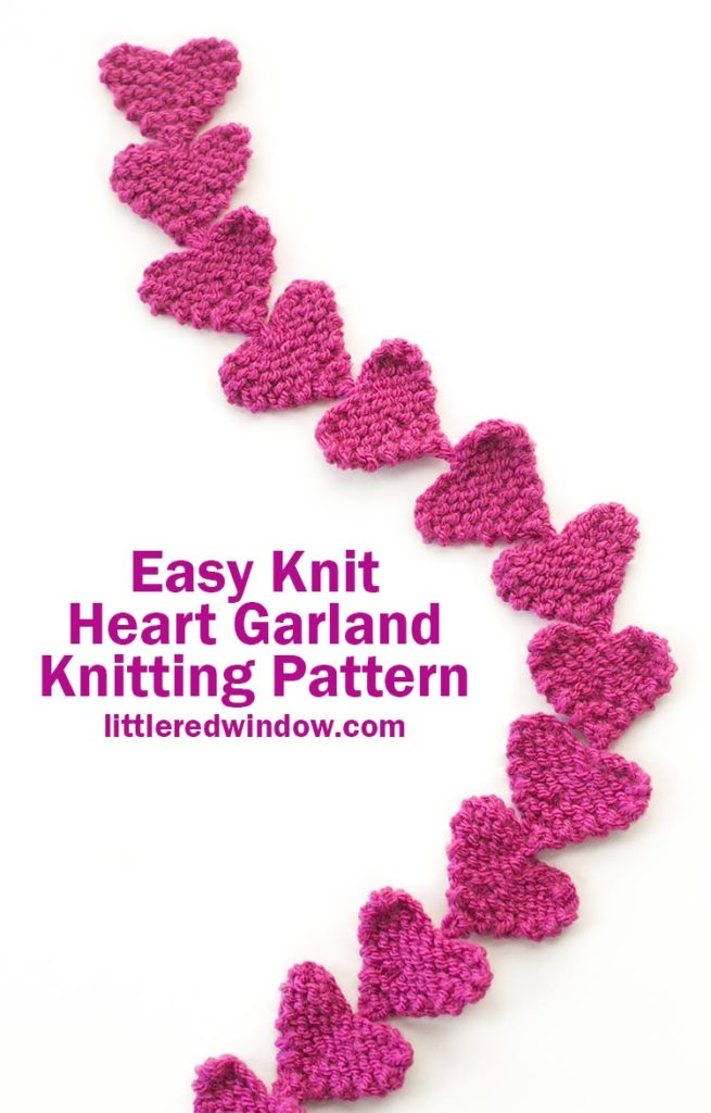 This easy knit heart garland knitting pattern is a fun project for Valentine's Day and it knits up super quickly all in one piece, only two little ends to weave in!