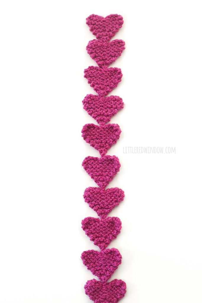Easy knit heart garland