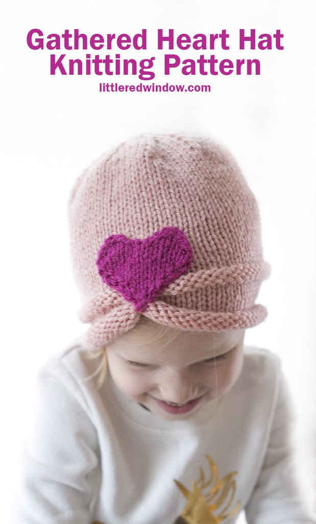 This cute gathered heart hat knitting pattern is the perfect project for your favorite baby or toddler this Valentine's Day (or any day)!