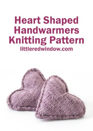 Adorable and cozy, this heart shaped handwarmer knitting pattern makes the perfect handmade gift!