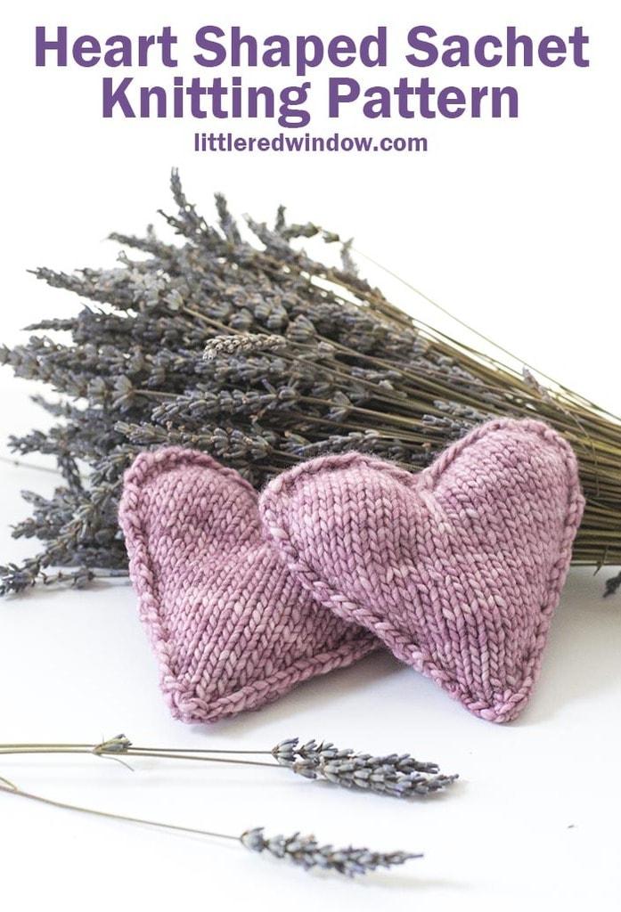 Heart Shaped Lavender Sachet Knitting Pattern