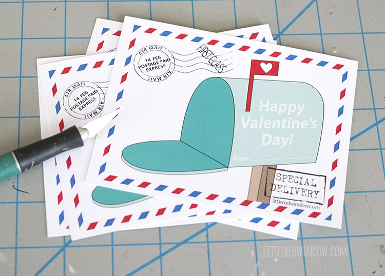 Cut the mailbox Valentines apart with a ruler and craft knife!