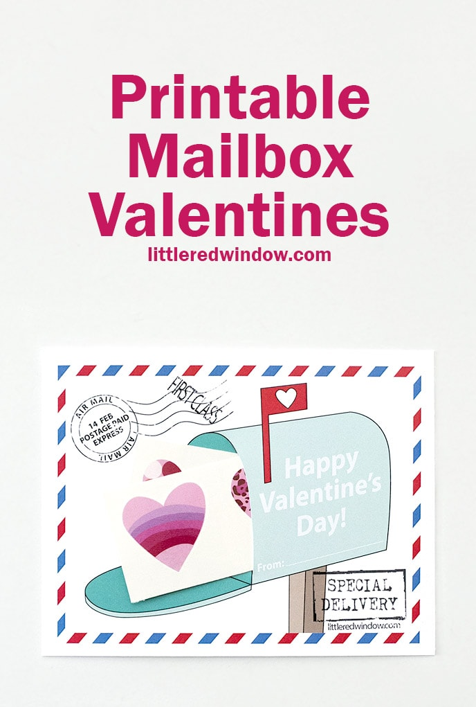"Free Printable Mailbox Valentines, just print, cut and add some stickers or tattoos for the ""mail""!"