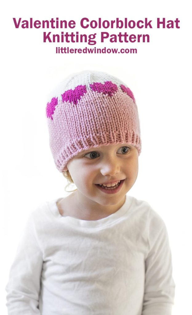 This cute Valentine Colorblock Hat knitting pattern has a fun row of hearts all the way around, knit one for your baby or toddler!