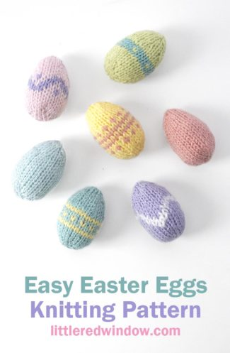 This adorable Easy Easter Eggs knitting pattern is a super quick & fun knit and the perfect Easter knitting project!
