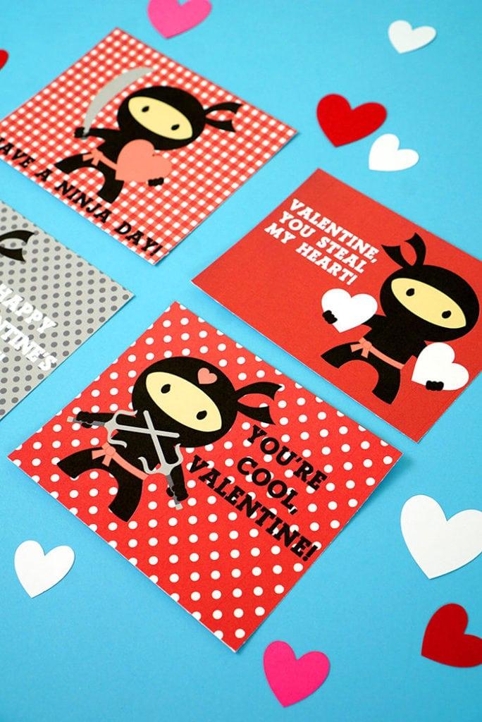 Ninja Printable Valentines Cards