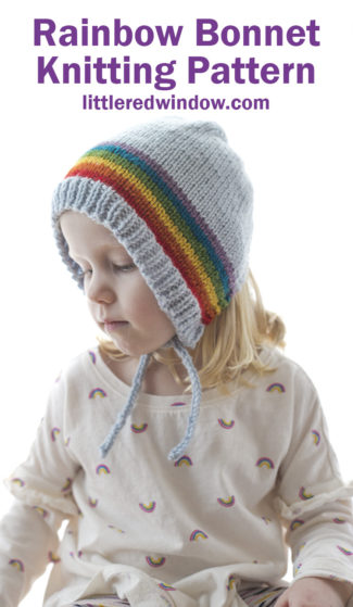 Fun & Colorful Rainbow Bonnet knitting pattern is a joy to knit! Perfect for your baby or toddler!