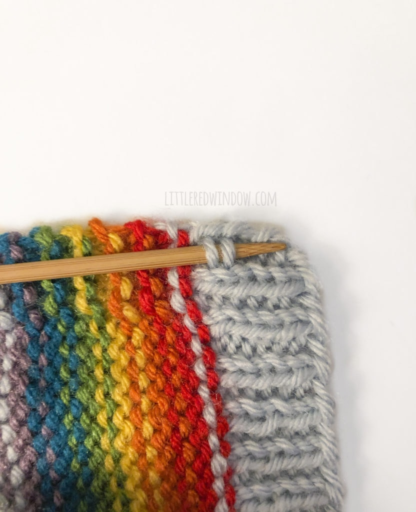 Pick up stitches under the chin of your rainbow bonnet to add chin ties.