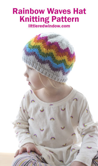 The Rainbow Waves Hat knitting pattern is a fun, bright, joyful knitting pattern for babies & toddlers perfect for spring, St. Patrick's day, Pride or anytime you need a little color in your life!