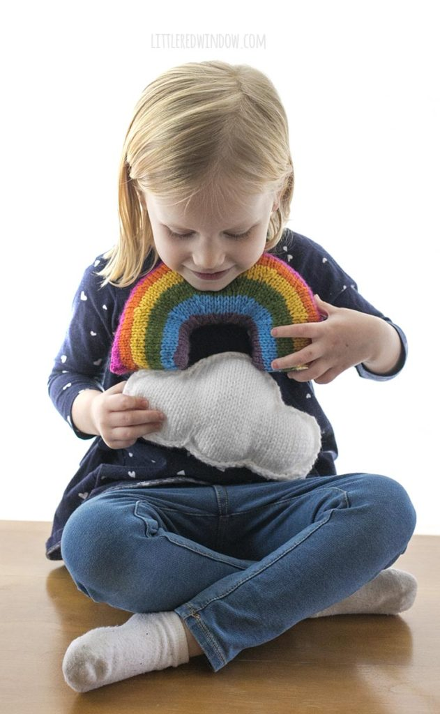 This fun, bright & cheerful Rainbow & Cloud knitting pattern is the most fun knitting project you'll work on all year!