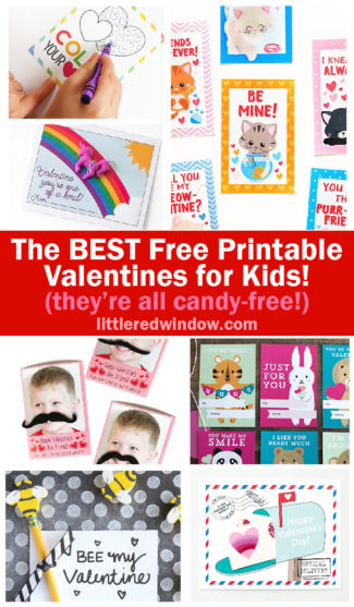 Download, print & cut the BEST free printable valentines for kids! Bonus: they're all candy-free!