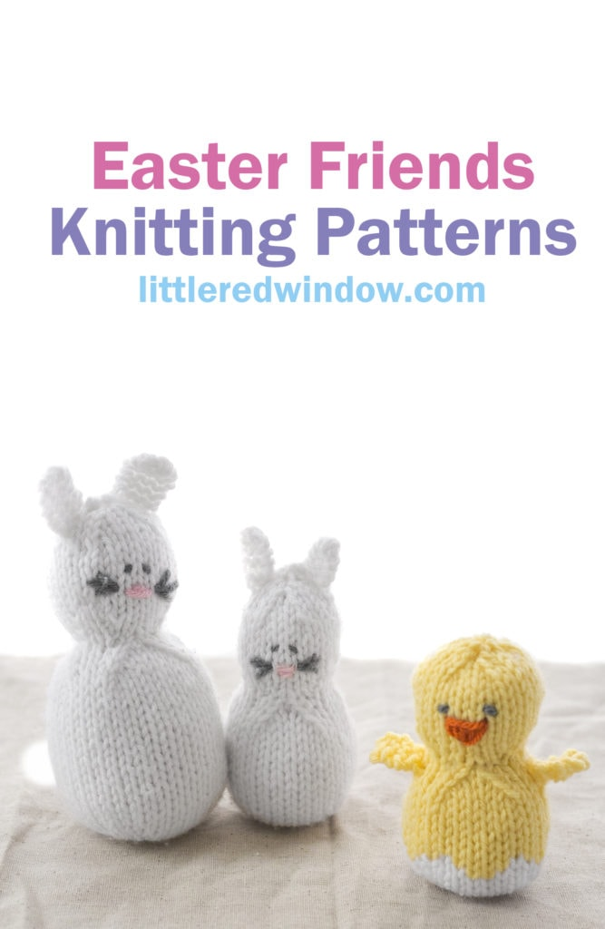 You can knit up these adorable Easter bunnies and Easter Chick with our easy Easter Friends Knitting Pattern which includes step by step instructions and photos!
