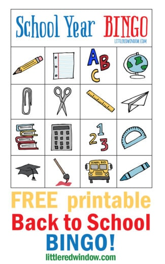 Back to School BINGO – Free Printable