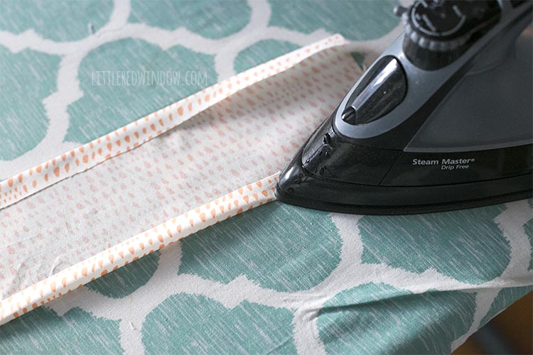 Iron the seams of your DIY scrunchie!