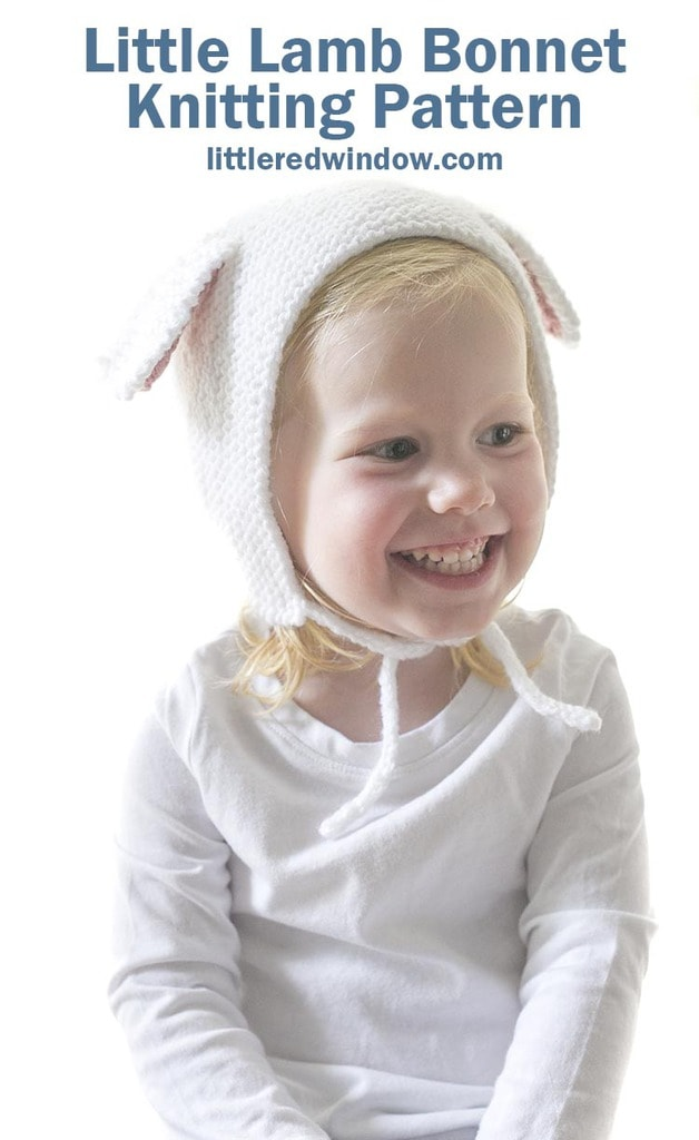 Little Lamb Bonnet knitting pattern for newborns, babies and toddlers!
