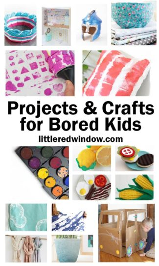 We put together a list of posts chock full of ideas for projects & crafts for bored kids!