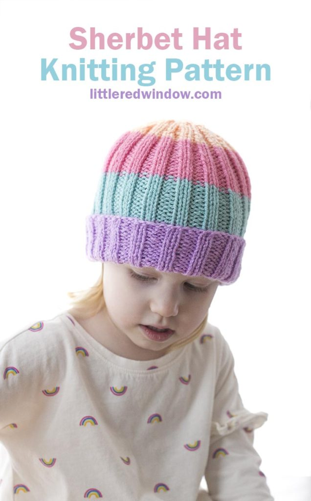 Easy Sherbet Baby Hat knitting pattern is folded brim ribbed hat in fun bright pastel sherbet colors!