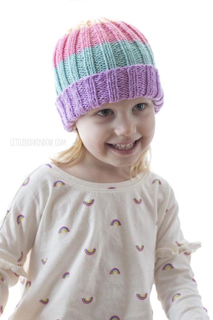 Smiling girl wearing sherbet hat
