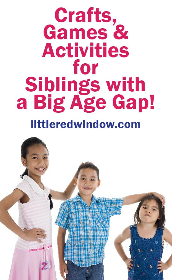 3 kids with big age gap standing from tallest to shortest