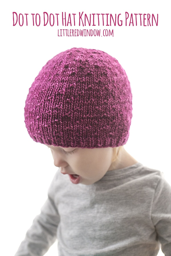 This simple but fun Dot to Dot hat knitting pattern is a perfect pattern to show off your favorite yarn, it makes a wonderful baby shower gift too!