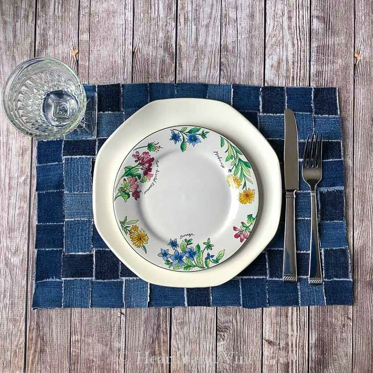 Upcycling Jeans into Useful and Pretty Woven Placemats