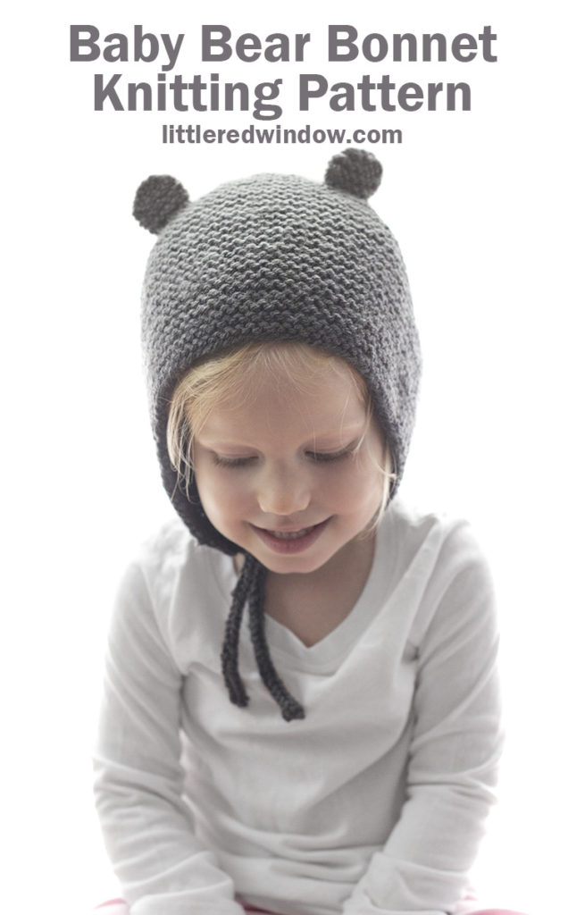 Soft, squishy & so sweet, the Baby Bear Bonnet knitting pattern is the perfect easy knit for your baby or toddler!