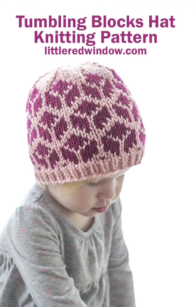 This cute tumbling blocks hat knitting pattern is a fun 2 color pattern to knit for your baby or toddler!