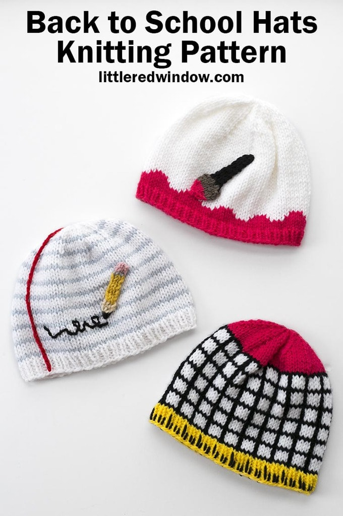 This adorable collection of Back to School Hats knitting patterns includes instructions for a paintbrush hat, notebook paper & pencil hat and graph paper & ruler hat, perfect for Fall or your favorite teacher friend!