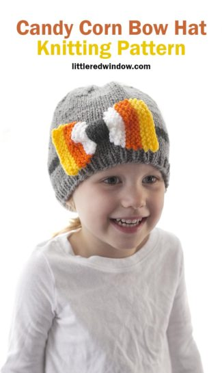Candy Corn Bow Hat Knitting Pattern