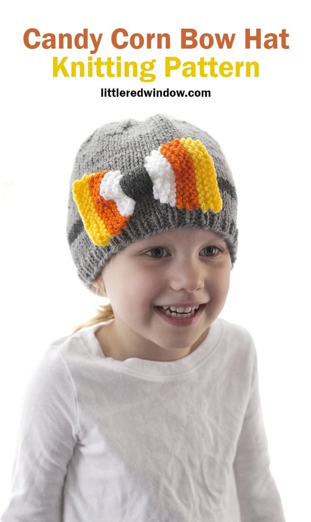 Grab this candy corn bow hat knitting pattern and knit your own cute Halloween baby hat with a bow made of candy corn!