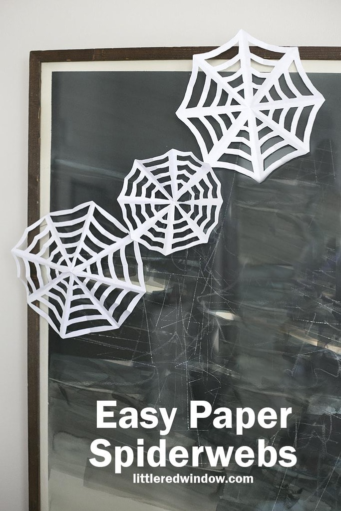 Easy Paper Spiderwebs are a fun Halloween craft you can whip up in just a couple minutes!