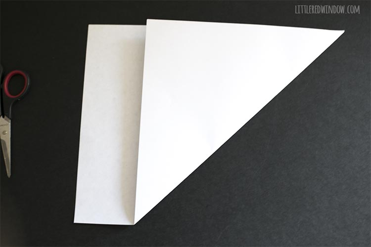 paper with one corner folded up to make a square