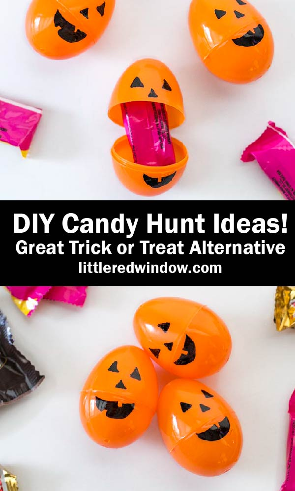 DIY Pumpkin Eggs filled with candy for a Halloween Candy Hunt! Makes a great Trick or Treat alternative!