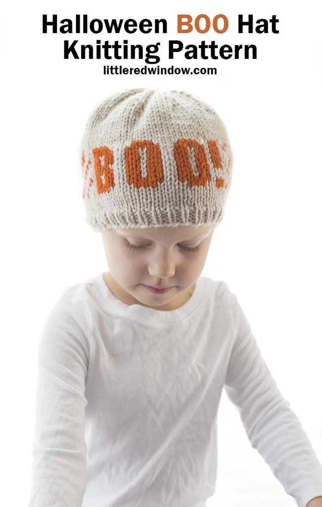 Halloween BOO Hat knitting pattern, the perfect trick-or-treat hat for newborns, babies and toddlers!