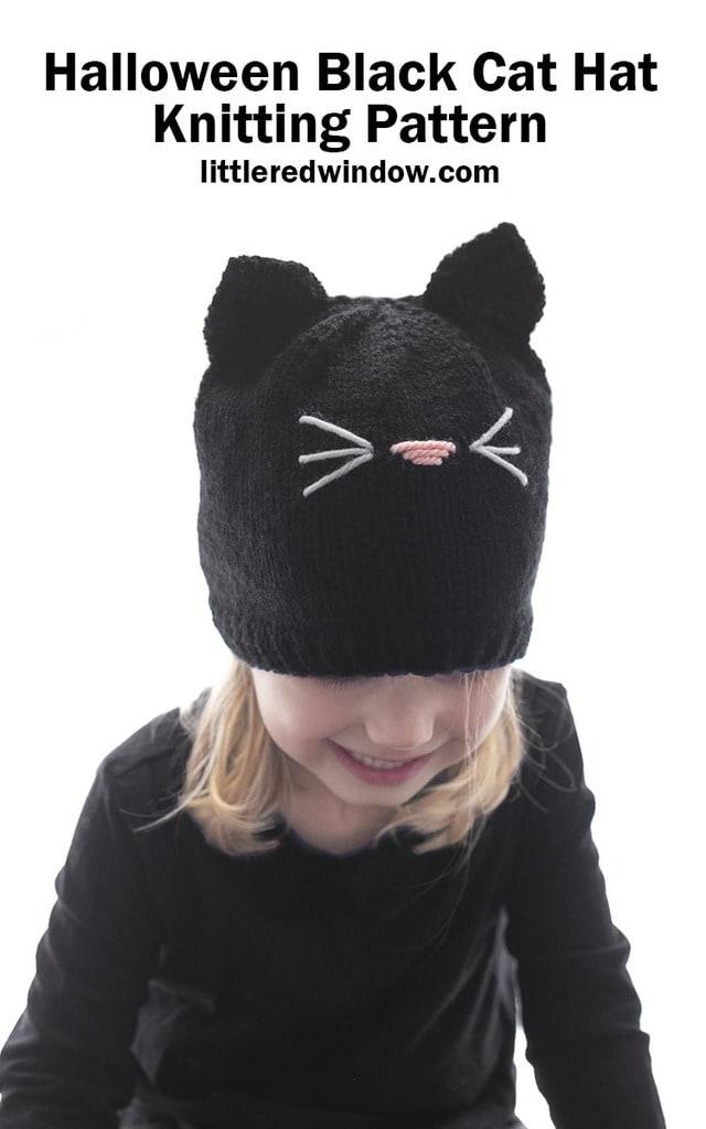 Halloween Black Cat Hat knitting pattern