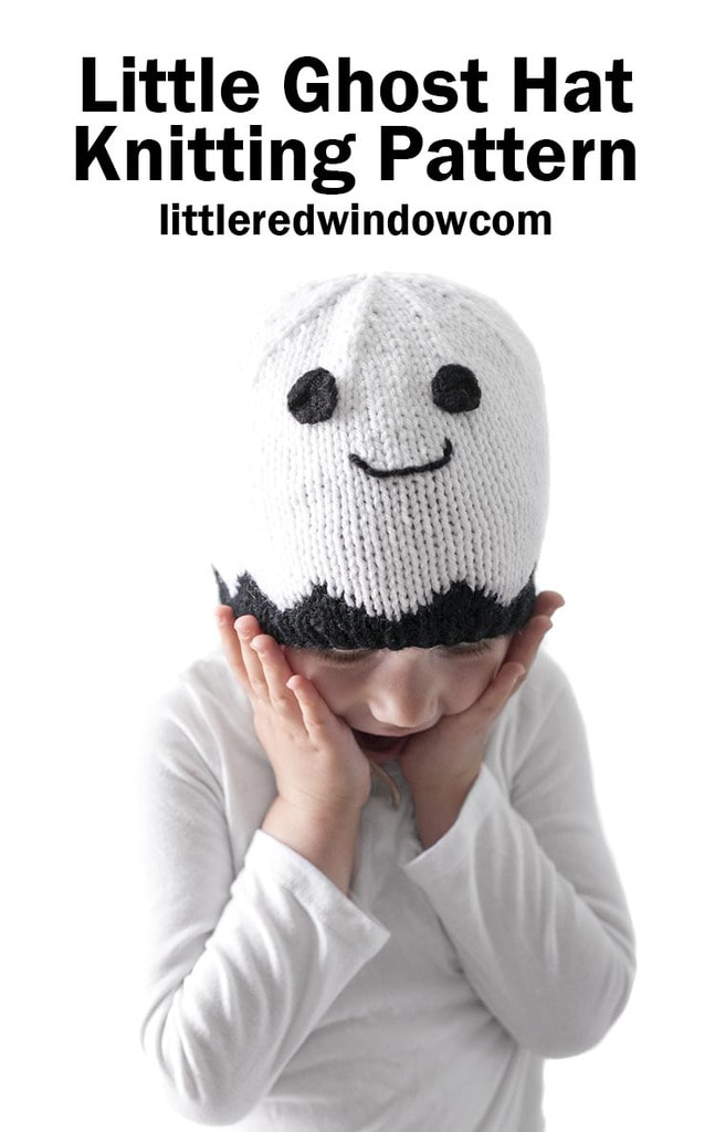 Little Ghost Hat Knitting Pattern for newborns, babies and toddlers!