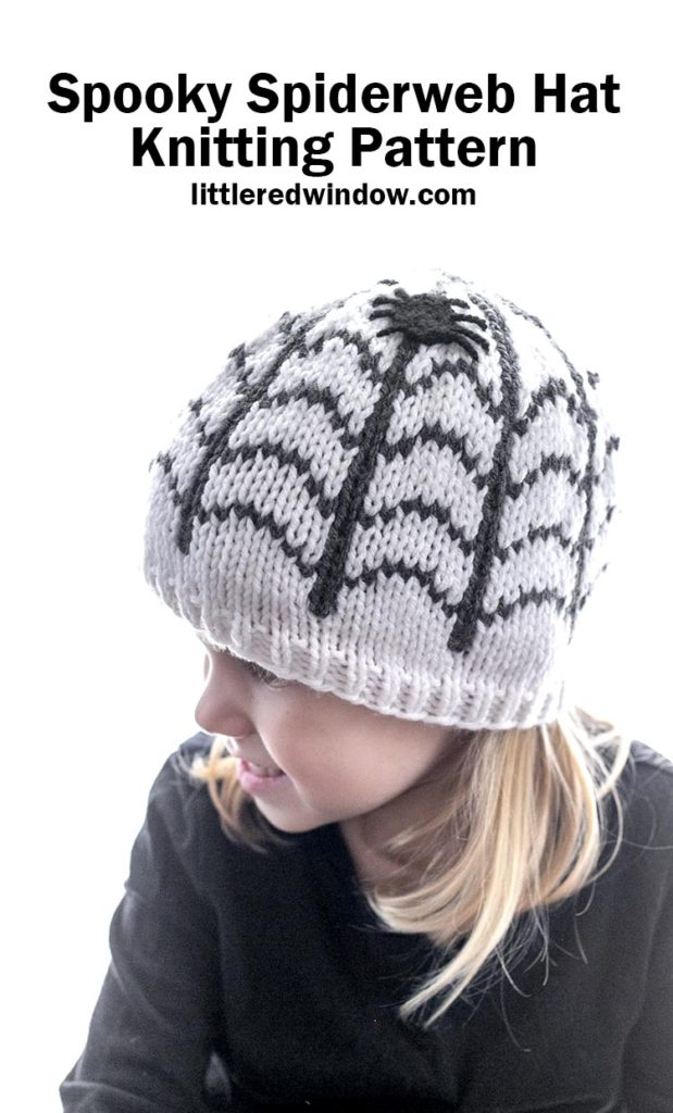 Spooky Spiderweb Hat Knitting Pattern with easy applique spiders, adorable Halloween hat for your baby or toddler!