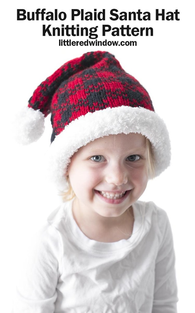 This cute buffalo plaid Santa hat knitting pattern is a fun cozy twist on a traditional Christmas knitting pattern for your baby or toddler!