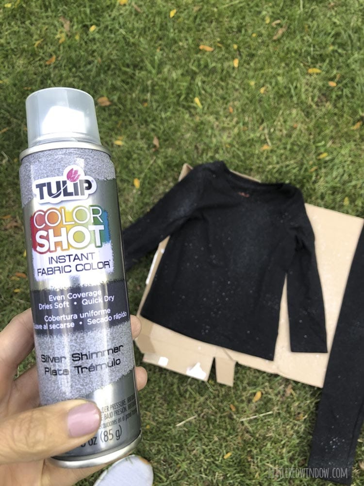 Hand holding a an of Tulip Color Shot silver sparkle fabric spray paint for an outer space costume