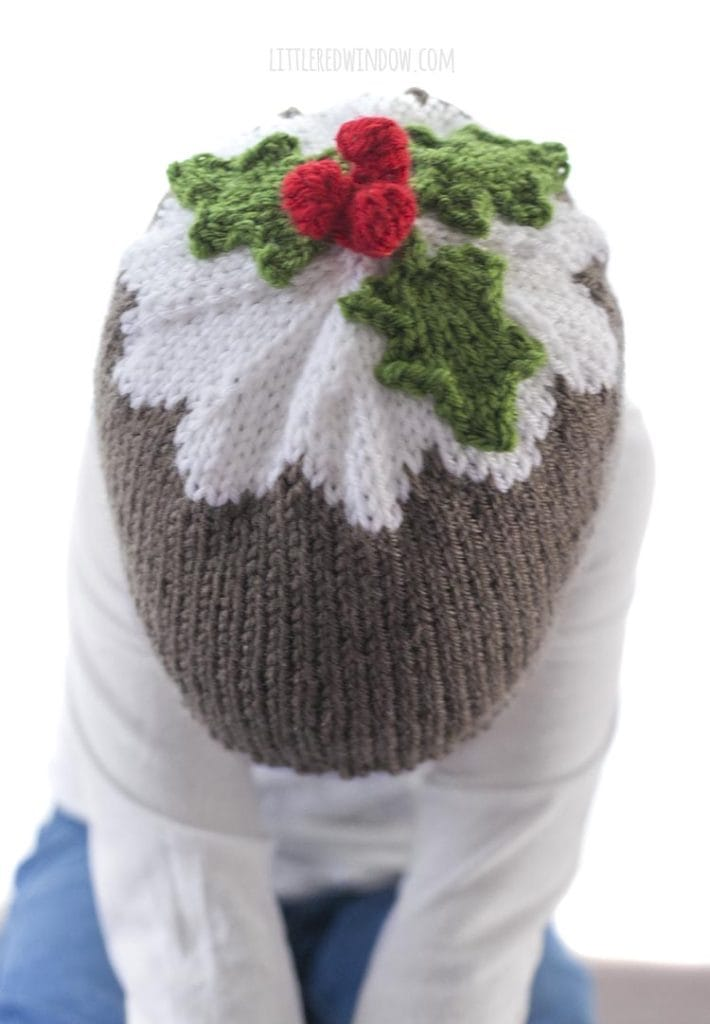 Top view of knit hat that looks like figgy pudding