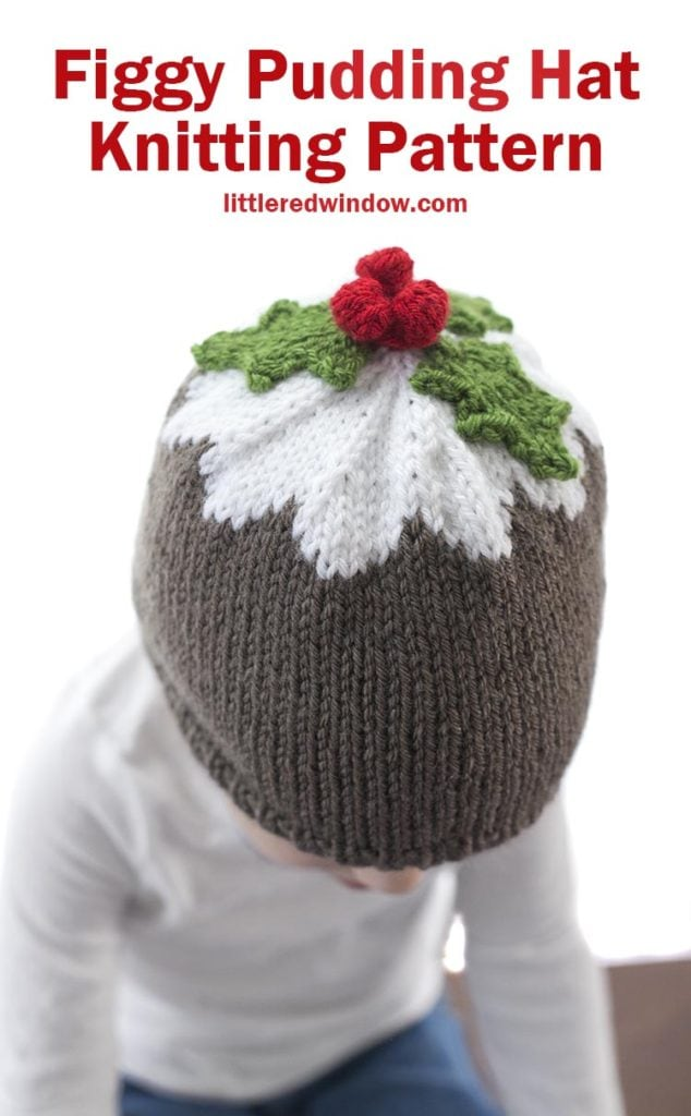 The Figgy Pudding Hat knitting pattern is the cutest Christmas baby hat pattern to knit for your baby or toddler, your little one will look delicious!